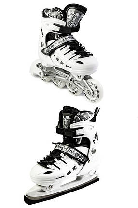 Ролики-коньки Scale Sport. White (2в1) размер 34-37, фото 2