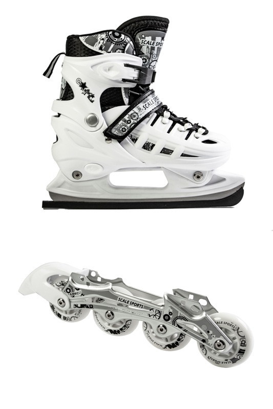 Ролики-коньки Scale Sport. White (2в1) размер 38-41