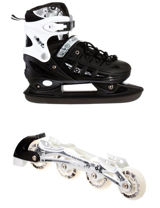 Ролики-коньки Scale Sport. черные (2в1) размер 34-37