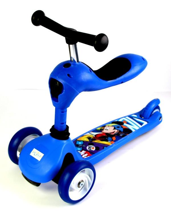 Трехколесный самокат-трансформер 2 в 1. Scale Sports. Disney. Blue
