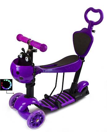 """Самокат Scooter """"Божья Коровка"""" 5в1. Фиолетовый. Светящиеся колеса!, фото 2"""