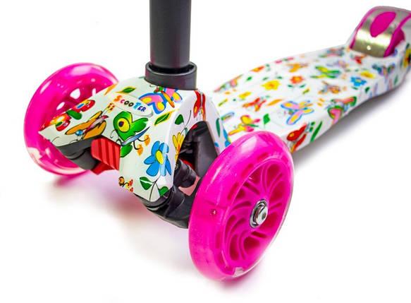Самокат детский MAXI. Butterfly. Малиновые светящиеся колёса., фото 2