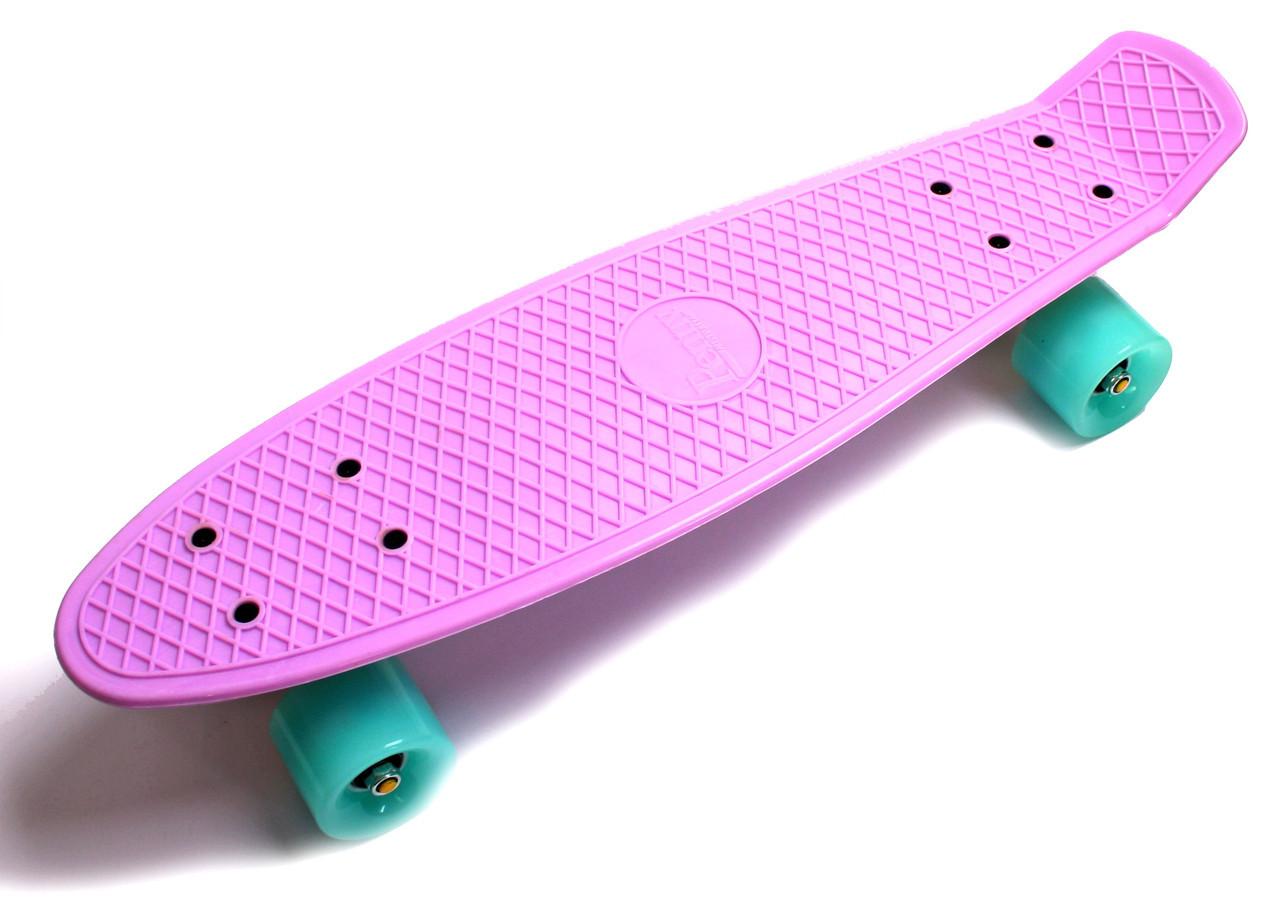 """Скейт """"Penny Board"""" Ліловий колір. Світяться колеса."""