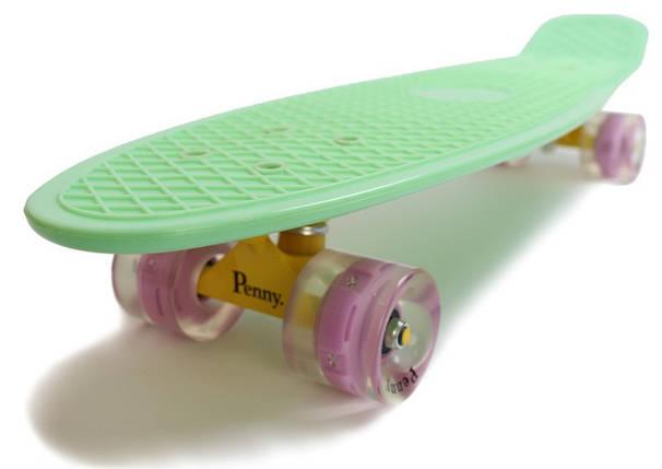 """Скейт """"Penny Board"""" Nickel 27"""". Мятный цвет. Светящиеся колеса, фото 2"""