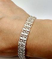 Браслет Двойная Арабка(арабский бисмарк с камнями) - серебро 925 пробы с белыми камями средний вес 14,50 грам