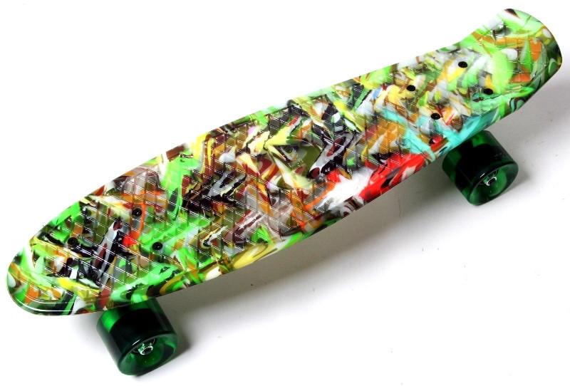 """Скейт """"Penny Board"""" """"Green cane"""". Светящиеся колеса."""