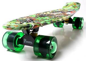 """Скейт """"Penny Board"""" """"Green cane"""". Светящиеся колеса., фото 2"""