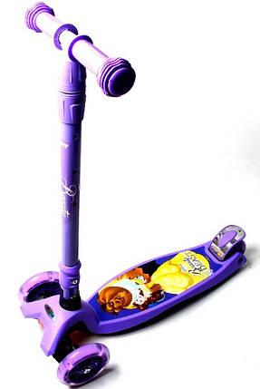 Самокат дитячий Scooter Maxi Scooter Disney Beauty Beast з нахилом керма і складною ручкою, фото 2