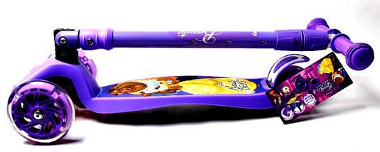 Самокат дитячий Scooter Maxi Scooter Disney Beauty Beast з нахилом керма і складною ручкою, фото 3