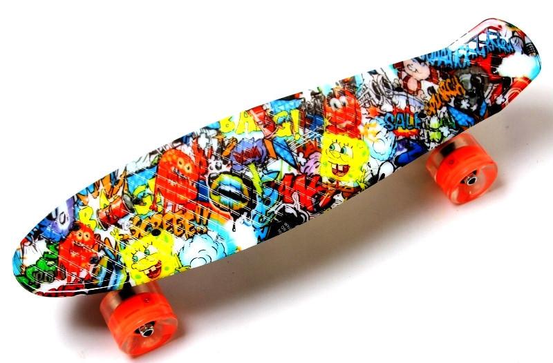 """Скейт """"Penny Board"""" """"Graffiti"""" Sponge Bob. Светящиеся колеса."""