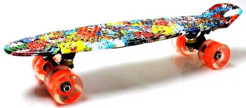 """Скейт """"Penny Board"""" """"Graffiti"""" Sponge Bob. Светящиеся колеса., фото 2"""