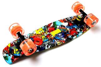 """Скейт """"Penny Board"""" """"Graffiti"""" Sponge Bob. Светящиеся колеса., фото 3"""