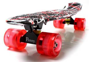"""Скейт """"Penny Board"""" """"Red design"""" Светящиеся колеса, фото 2"""