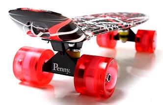 """Скейт """"Penny Board"""" """"Red design"""" Светящиеся колеса, фото 3"""