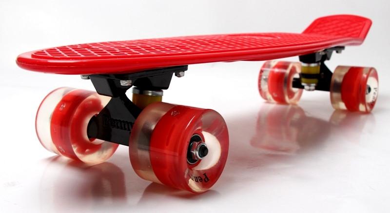 """Скейт """"Penny Board. Red"""" Гравировка. Светящиеся колеса"""