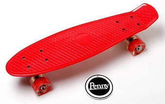 """Скейт """"Penny Board. Red"""" Гравировка. Светящиеся колеса, фото 3"""