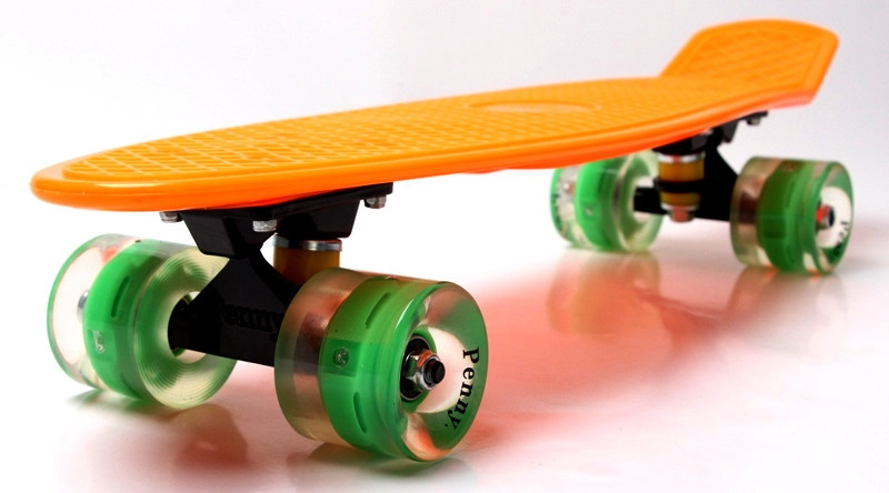 "Скейт ""Penny Board"" Orange. Гравировка. Светящиеся колеса"