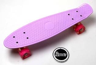 "Скейт ""Penny Board"" Lilac (Лиловый). Гравировка. Светящиеся колеса, фото 2"