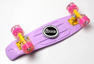 "Скейт ""Penny Board"" Lilac (Лиловый). Гравировка. Светящиеся колеса, фото 3"
