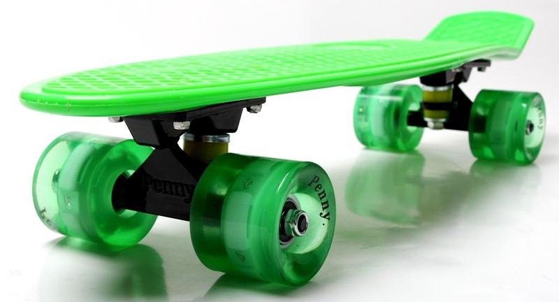 """Скейт """"Penny Board"""" Green. Гравировка. Светящиеся колеса"""