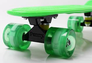 """Скейт """"Penny Board"""" Green. Гравировка. Светящиеся колеса, фото 2"""