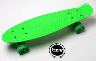 """Скейт """"Penny Board"""" Green. Гравировка. Светящиеся колеса, фото 3"""