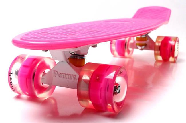 """Скейт """"Penny Board"""" Pink. Гравировка. Светящиеся колеса, фото 2"""