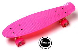 """Скейт """"Penny Board"""" Pink. Гравировка. Светящиеся колеса, фото 3"""