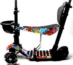 Самокат Scooter. Graffiti. 5в1 с рисунком. Светящиеся колеса!, фото 3