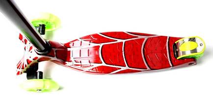 Самокат детский MAXI. Red web. Салатовые светящиеся колеса, фото 2