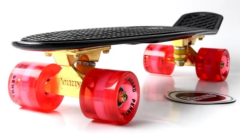 """Скейт """"Penny Board"""" Black. Logo. Золотая подвеска! Светящиеся красные колеса!"""