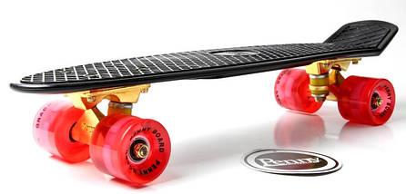 """Скейт """"Penny Board"""" Black. Logo. Золотая подвеска! Светящиеся красные колеса!, фото 3"""