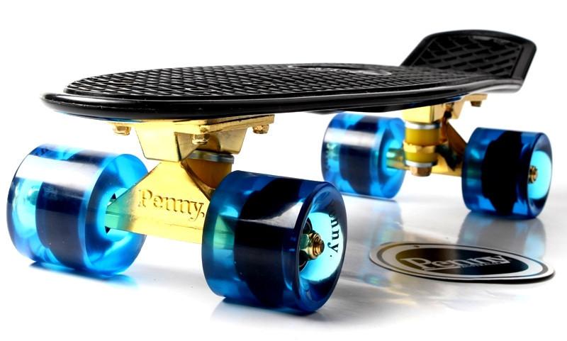 """Скейт """"Penny Board"""" Black. Logo. Золотая подвеска! Гравировка! Синие колеса!"""