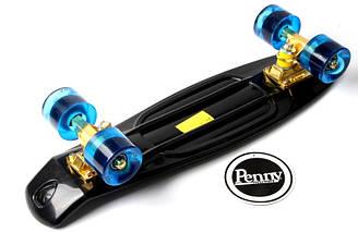 """Скейт """"Penny Board"""" Black. Logo. Золотая подвеска! Гравировка! Синие колеса!, фото 3"""