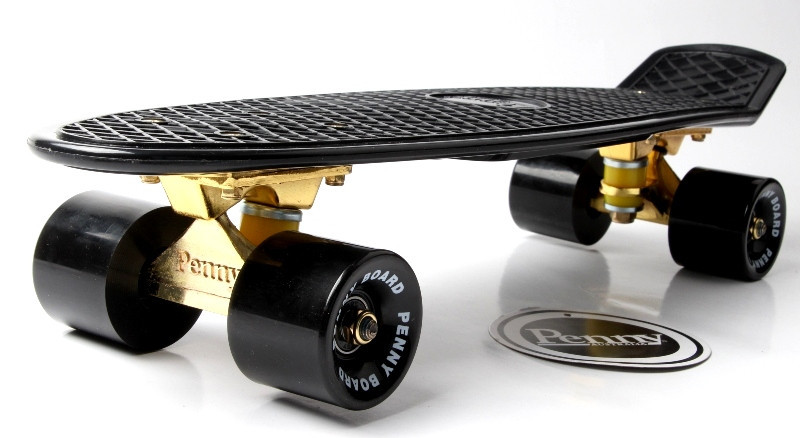 "Скейт ""Penny Board"" Black. Logo. Золотая подвеска! Гравировка!"