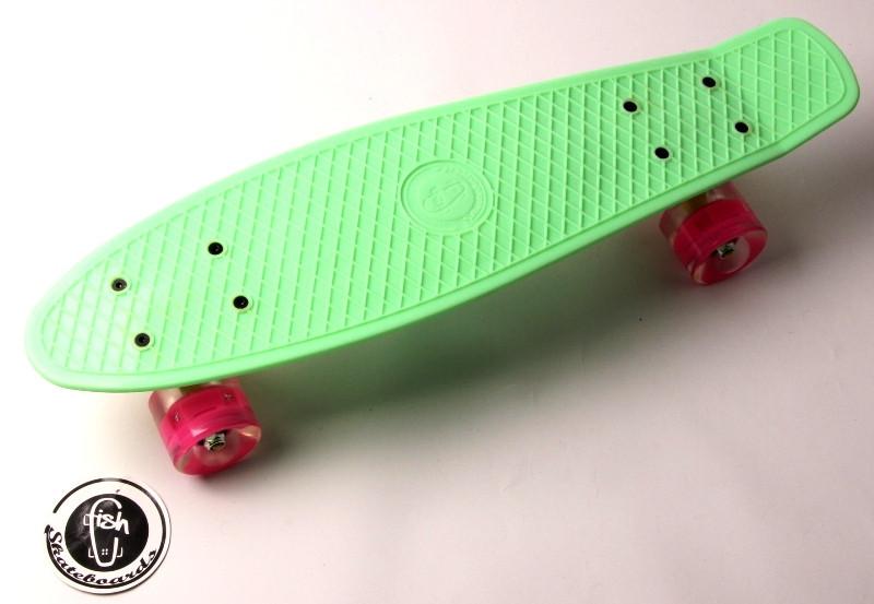 """Скейт """"Penny Board"""" """"Fish"""" Мятный цвет. Светящиеся колеса."""