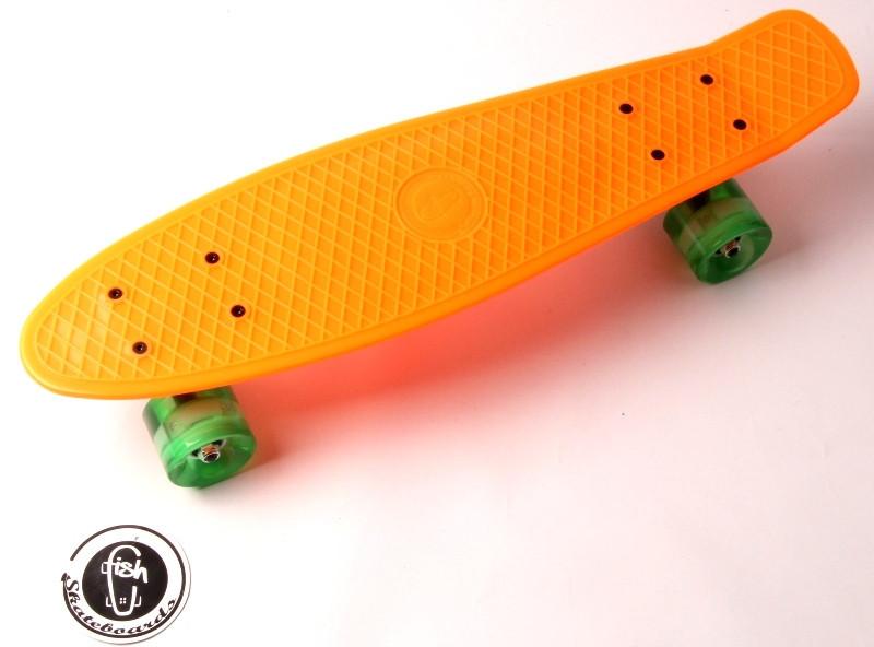 """Скейт """"Penny Board"""" """"Fish"""".Оранжевый цвет. Светящиеся колеса."""