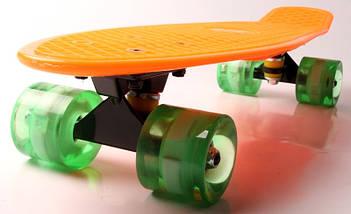 "Скейт ""Penny Board"" ""Fish"".Оранжевый цвет. Светящиеся колеса., фото 2"