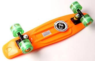 "Скейт ""Penny Board"" ""Fish"".Оранжевый цвет. Светящиеся колеса., фото 3"