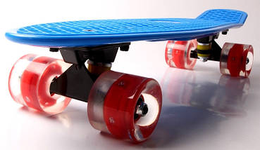"""Скейт """"Penny Board"""" """"Fish"""" Синий цвет. Светящиеся колеса., фото 2"""