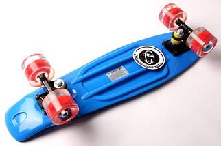 """Скейт """"Penny Board"""" """"Fish"""" Синий цвет. Светящиеся колеса., фото 3"""