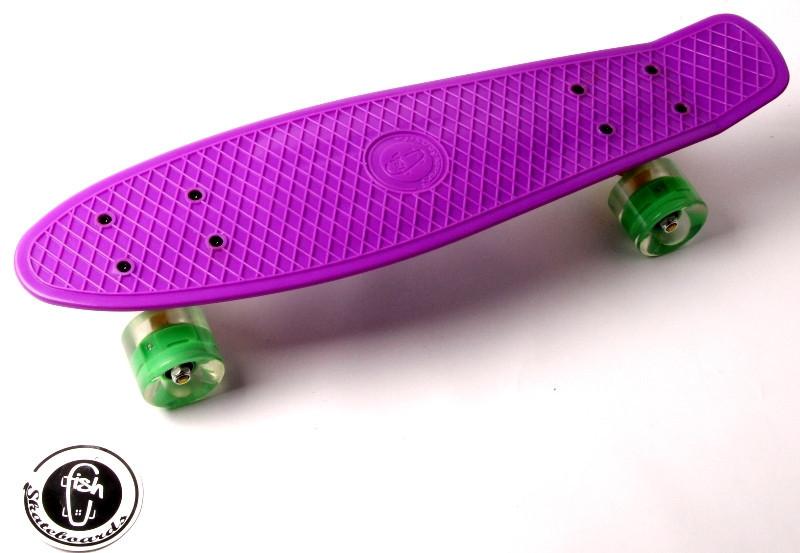 """Скейт """"Penny Board"""" """"Fish"""" Фиолетовый цвет. Светящиеся колеса."""
