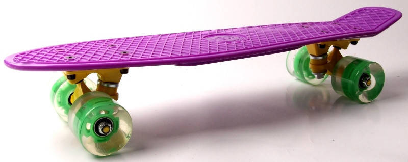 "Скейт ""Penny Board"" ""Fish"" Фиолетовый цвет. Светящиеся колеса., фото 2"