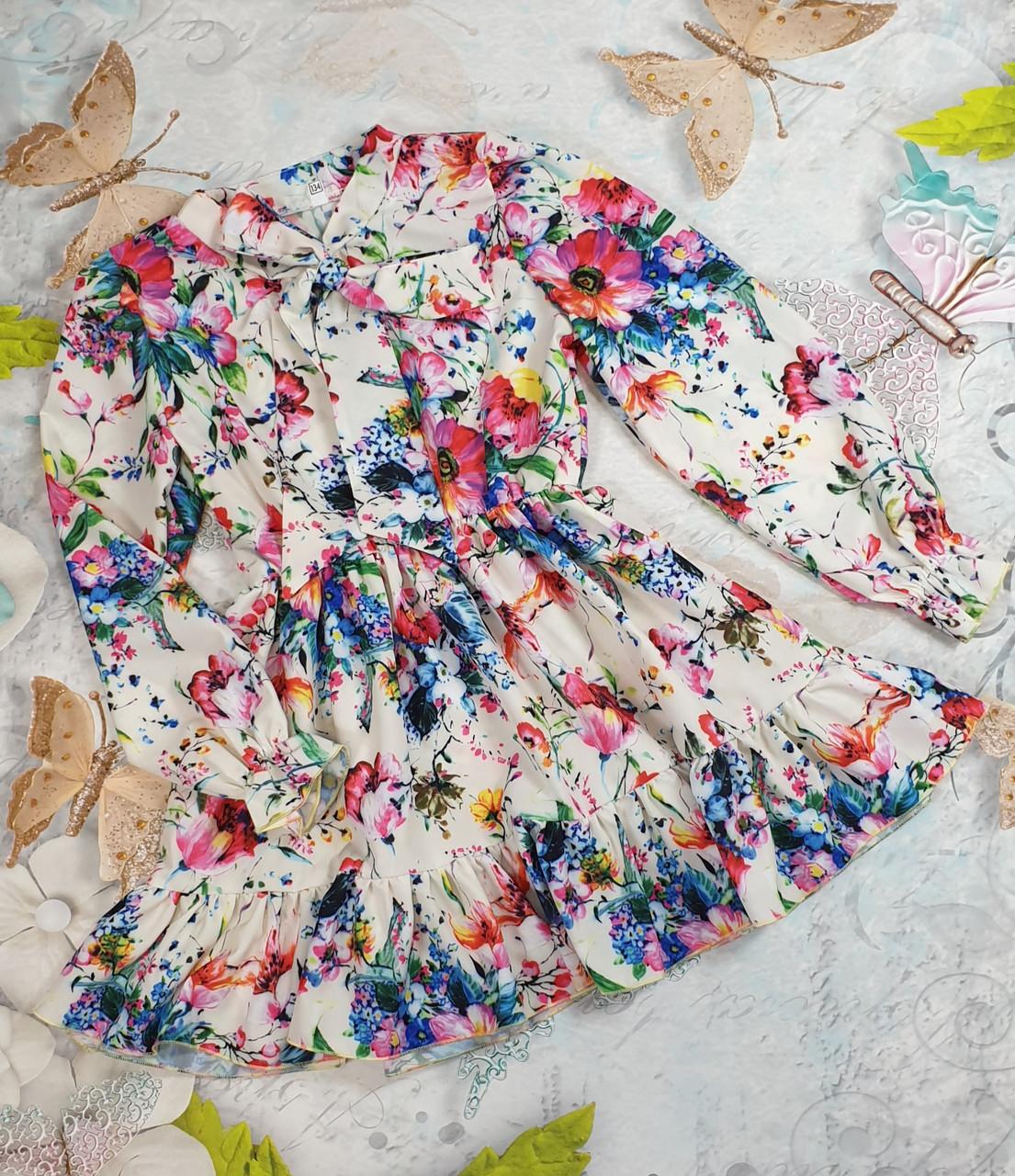 Модное стильное Платье для девочки с рюшем Цветы 134-152 цветы на белом