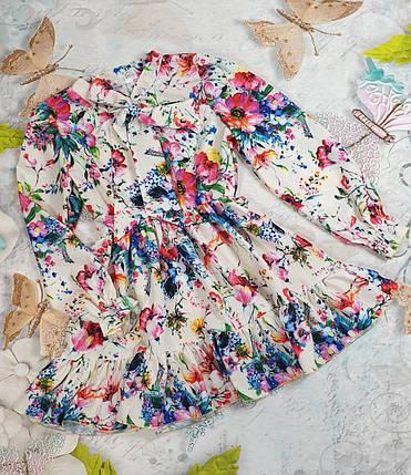 Модное стильное Платье для девочки с рюшем Цветы 134-152 цветы на белом, фото 2