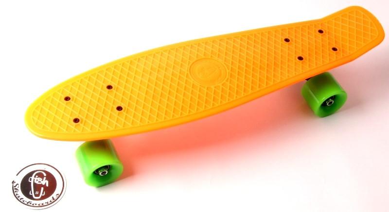 """Скейт """"Penny Board"""" """"Fish"""". Оранжевый цвет."""