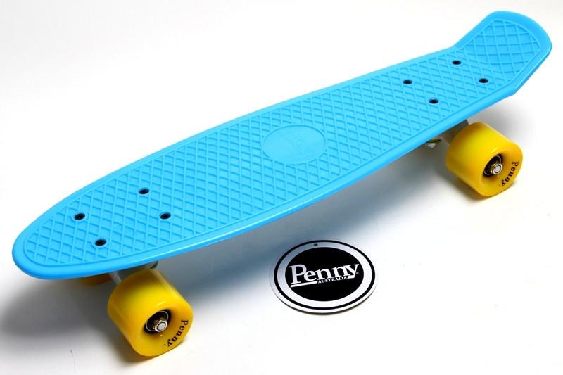 "Скейт ""Penny Board"" Голубой цвет. Гравировка."