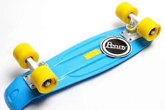 "Скейт ""Penny Board"" Голубой цвет. Гравировка., фото 3"