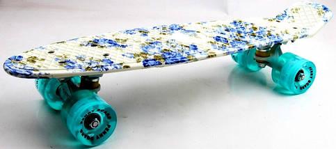 """Скейт """"Penny Board""""  Full """"Flowers"""" Светящиеся колеса., фото 3"""