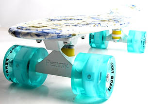 """Скейт """"Penny Board""""  Full """"Flowers"""" Светящиеся колеса., фото 2"""